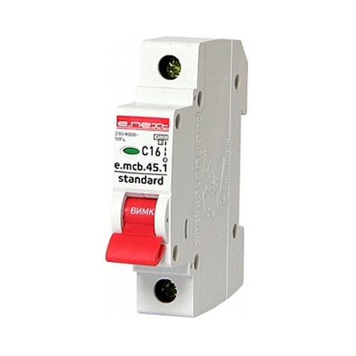 Фото Однополюсный автоматический выключатель 1р, 16А, C, 4.5 кА, e.mcb.stand.45.1.C16