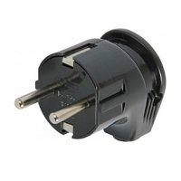 Фото Вилка бытовая электрическая 16А с з/к угловая черная e.plug.