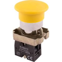 Фото Кнопка грибок без фиксации желтая, 1NO e.mb.bc51